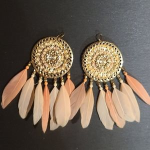 2/$20 *Pink Feather Earrings ( bebe )